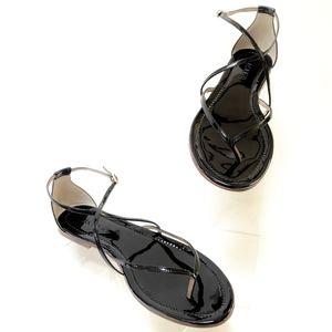 J.Crew Audra Patent Sandals in Black